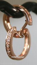 """14K Pink Rose Gold Genuine Diamonds OVAL Huggies Hoop Earrings 0.46"""" Small  $439"""