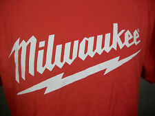 MILWAUKEE POWER TOOLS Name & LOGO -Size L / Large RED Graphic T-SHIRT Tee