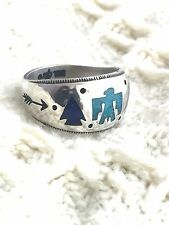 Vintage Sterling Silver Ring Storytelle Band Phoenix Size 7 6.9g Carolyn Pollack