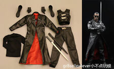 Custom 1/6 scale Male Blade Wesley Snipes OUTFIT + Swords WEAPON Model Toys