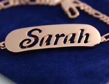"""18K Rose Gold überzog Weiblich gravierten Namen """"SARAH"""" Armband Schmuck Liebe"""