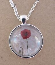 Simple Red Poppy Design Silver Pendant Glass Necklace New in Gift Bag