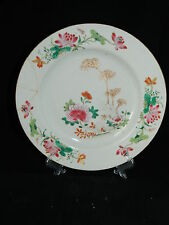Antique 18th century Chinese porcelain plate with floral pattern (restoration)