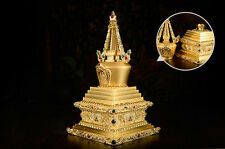 17CM TIBET GOLD GILT STUPA BUDDHA PAGODA OPENABLE TO HOLD HOLY RELICS