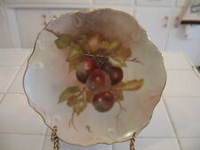 Beautiful Vintage Scalloped Hand Painted HP Plate With Plums Signed MK Limoges