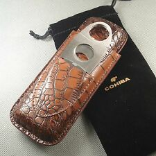 COHIBA BROWN GENUINE CROCODILE LEATHER CIGAR HOLDER CASE CUTTER CLIPPER SET