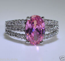 Ladies New Pink Sapphire 18KT Gold Filled Jewellery Wedding Gift Ring Size R-8.5