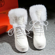 Womens FUR Roma Snow Lace Up Ankle Boot Platform Wedge Heel Winter Shoes YE Plus