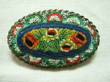 LARGE VINTAGE MADE IN ITALY FLORAL MICRO MOSAIC OVAL BROOCH PIN ~ LOVELY!