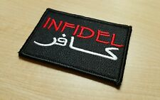 INFIDEL Black and Red Morale Patch Devgru Navy Seals Special Forces USMC