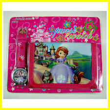 CUTE Princess Sofia the First Kids Girls Ladies Wrist Watch and Purse Wallet SET