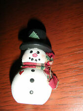 Christmas Winter Holiday Painted Wood Snowman W/Scarf Pin