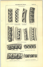 1850 Engraving Mouldings Early English Tooth Ornament Binham Priory Dunstable