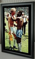 Bobby Moore Pele England Brazil Framed Canvas Tribute Print  Signed   Great Gift