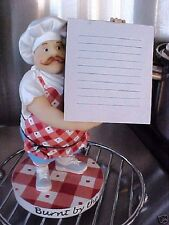 "BBQ CHEF ~ Resin Figurine ~ HOLDING CHALKBOARD NOTEPAD  ""BURNT BY THE BEST"""