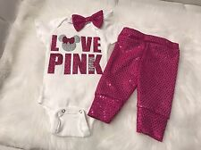 Baby Girl, Size Newborn, Love Pink Minnie Outfit, 3pc Set, Clothes Lot