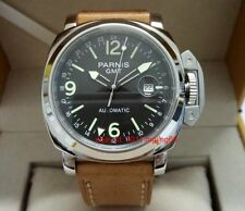 Parnis 44mm Automatic Men's Watch GMT Dual time magnifying lens date