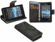 Sony Xperia E Dual Sim // Book Style Hülle Etui Handytasche Schale in Anthrazit
