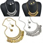 Fashion Silver Gold Coins Statement Bib Chunky Chain Choker Collar Necklace Set