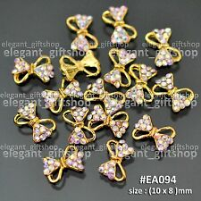 Nail Art Decoration Alloy Jewelry GOLD Glitter Bow Knot AB Rhinestones #EA094