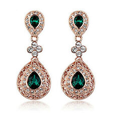 Vintage Design Long Luxury Teardrop Gold & Emerald Green Drop Earrings E648