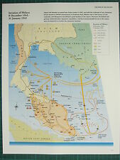 WW2 WWII MAP ~ INVASION OF MALAYA 8 DEC 1941 - 31 JAN 1942 ADVANCE LINES