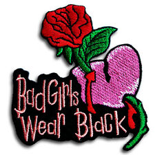 Bad Girl Wear Black Patch Iron on Harley Bitch Biker Heart Rider Tattoo Race Emo