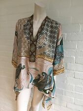 LAURIE & JOE Silk Print Beaded Neckline Tunic Top Top Sz L Large