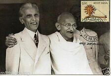 INDIA 2015 GANDHI CHARKHA MAX PICTURE POST CARD GANDHI WITH Muhammad Ali Jinnah
