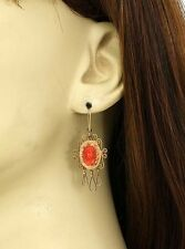 ANTIQUE VICTORIAN 14K GOLD & CORAL CAMEO EARRINGS