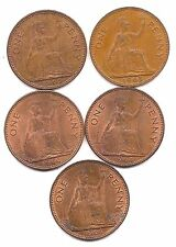 Five Great Britain Pennies (1962,63,64,66,67)-Mainly Mint Red !