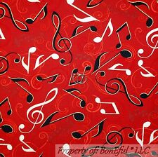 BonEful Fabric FQ Cotton Quilt Red Black B&W Gold Metallic Music Note Jazz Band