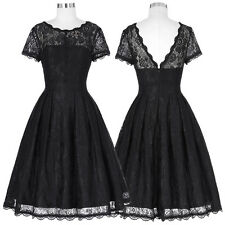 Women's 1950s Vintage Style Retro Evening Party Swing Pin Up Lace A-Line Dress