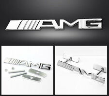 Chrome Silver AMG 3D Metal AMG Logo Front Grill Grille Badge Emblem