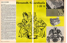 1967 RENAULT GORDINI 3-LITER V-8 ENGINE  ~   ORIGINAL 2-PAGE ARTICLE