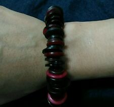 Red and black mixed buttons bracelet with stainless steel clasp 7.5""