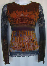SAVE THE QUEEN Multicolor Graphic Print Knit Top SIZE S Horse on Back