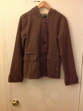 Volcom Women's Brown Striped Jacket Coat W/ Hood & Pockets, Size Medium