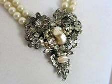 Necklace Original by Robert Flower Rhinestone with Fake Pearls [2371]