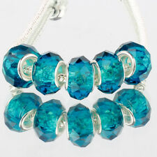 Crystal Peacock blue 5pcs MURANO glass bead LAMPWORK For European Charm Bracelet