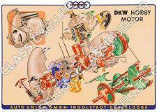 DKW Hobby Motor Roller Poster Plakat Explosionszeichnung Motorrad Tafel Schild