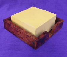 Stylish BURR WOOD NOTE BLOCK / PAPER HOLDER Business Card Tray - Desk Top Tidy