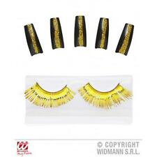 Oro Pestañas & 10 Brillo Uñas Beyonce Fancy Dress