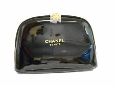 CHANEL Large Black Cosmetic Beauty Pouch Makeup Bag Patent Trousse vip New
