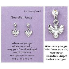 Equilibrium Sentiment GUARDIAN ANGEL Silver & Crystal Earrings Friendship Gift