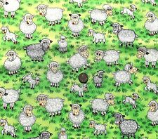 Funny Farm Sheep & lambs fabric FQ 50x56 cm Nutex 88650-4 100% Cotton