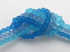 "3 SEA GLASS BEADS 4mm Aqua Sapphire Pacific Blue 8"" Strands 50 pc Round"