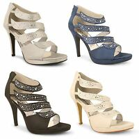 Womens Ladies Diamante Stiletto High Heel Bridal Wedding Party Prom Court Shoes