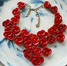 Oscar De La Renta Signed Red Rose Statement Necklace
