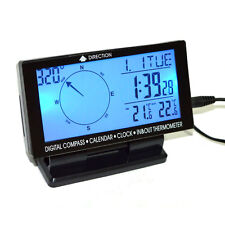 Car Digital Compass Clock Indoor/Outdoor Temperature Thermometer LCD Display